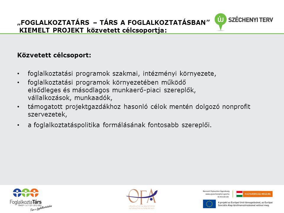 """""""FOGLALKOZTATÁRS – TÁRS A FOGLALKOZTATÁSBAN KIEMELT PROJEKT közvetett célcsoportja: Közvetett célcsoport: foglalkoztatási programok szakmai, intézményi környezete, foglalkoztatási programok környezetében működő elsődleges és másodlagos munkaerő-piaci szereplők, vállalkozások, munkaadók, támogatott projektgazdákhoz hasonló célok mentén dolgozó nonprofit szervezetek, a foglalkoztatáspolitika formálásának fontosabb szereplői."""