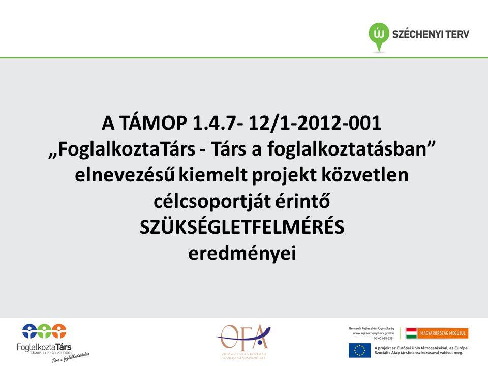 """A TÁMOP 1.4.7- 12/1-2012-001 """"FoglalkoztaTárs - Társ a foglalkoztatásban elnevezésű kiemelt projekt közvetlen célcsoportját érintő SZÜKSÉGLETFELMÉRÉS eredményei"""