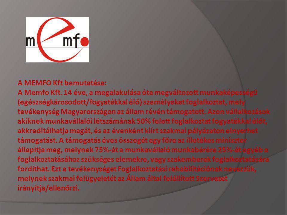 A MEMFO Kft bemutatása: A Memfo Kft. 14 éve, a megalakulása óta megváltozott munkaképességű (egészségkárosodott/fogyatékkal élő) személyeket foglalkoz