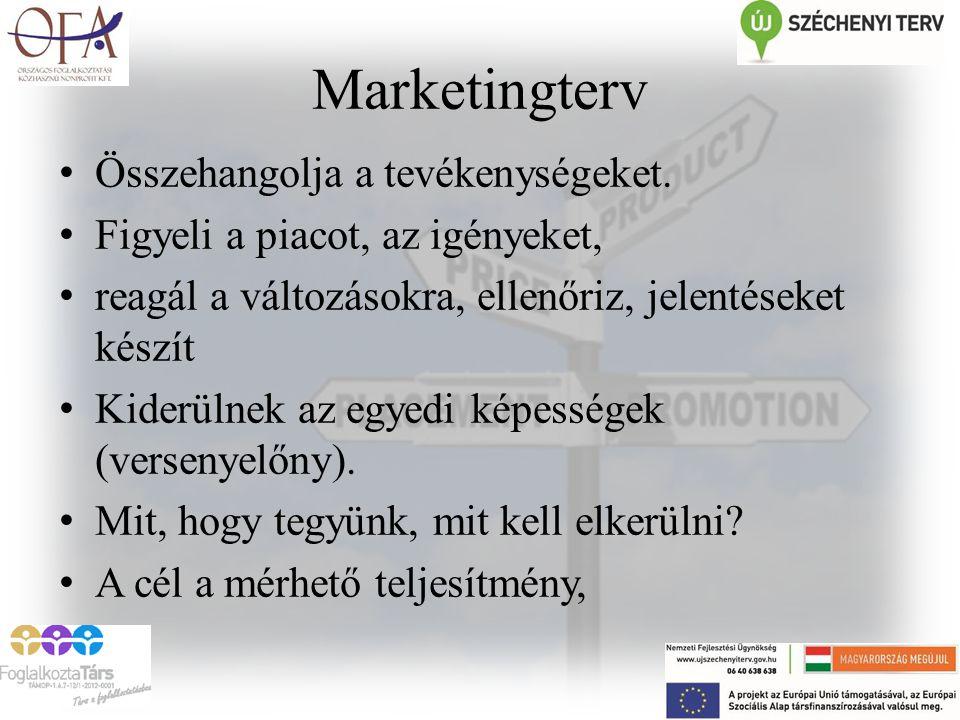 Marketingterv Összehangolja a tevékenységeket.