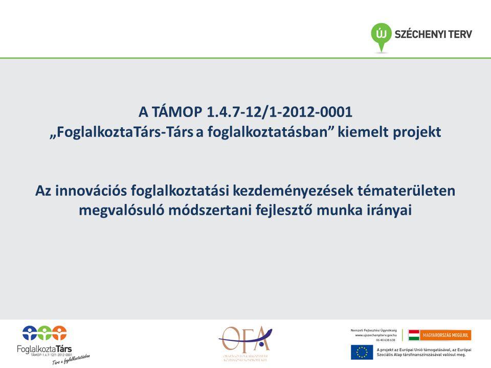 """A TÁMOP 1.4.7-12/1-2012-0001 """"FoglalkoztaTárs-Társ a foglalkoztatásban kiemelt projekt Az innovációs foglalkoztatási kezdeményezések tématerületen megvalósuló módszertani fejlesztő munka irányai"""