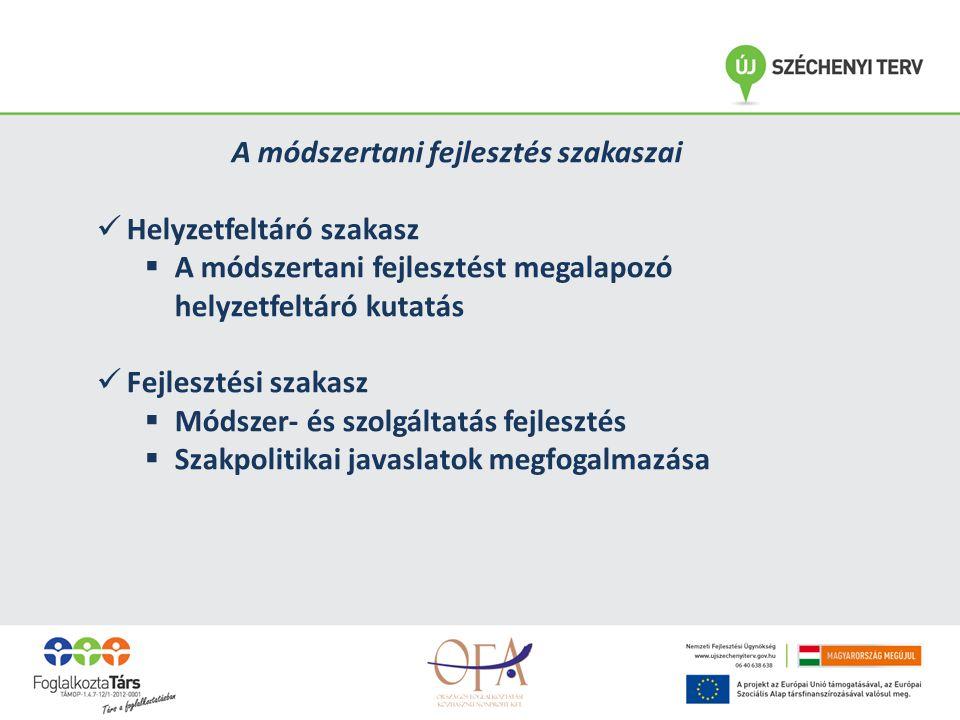A módszertani fejlesztés szakaszai Helyzetfeltáró szakasz  A módszertani fejlesztést megalapozó helyzetfeltáró kutatás Fejlesztési szakasz  Módszer- és szolgáltatás fejlesztés  Szakpolitikai javaslatok megfogalmazása