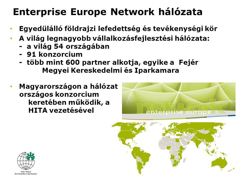 Egyedülálló földrajzi lefedettség és tevékenységi kör A világ legnagyobb vállalkozásfejlesztési hálózata: - a világ 54 országában - 91 konzorcium - több mint 600 partner alkotja, egyike a Fejér Megyei Kereskedelmi és Iparkamara Magyarországon a hálózat országos konzorcium keretében működik, a HITA vezetésével Enterprise Europe Network hálózata