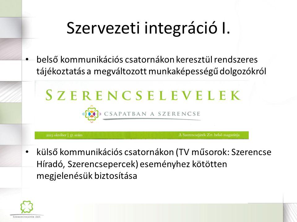 Szervezeti integráció II. vállalati rendezvényeken való részvételük