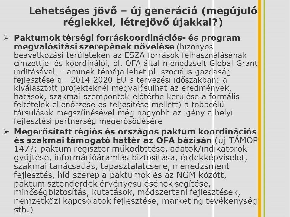 Lehetséges jövő – új generáció (megújuló régiekkel, létrejövő újakkal?)  Egyeztetett paktum alapszolgáltatások társfinanszírozása a munkaügyi szervezet által (szolgáltatás támogatás), tagsági díjak, saját bevételek elérése  Teljes országos lefedés elérése az új közigazgatási struktúrához illeszkedve (megyei kormányhivatalok, járások): GINOP: Helyi Gazdaság Menedzsment Szervezeti rendszer (HGMSZ) kiépítése.