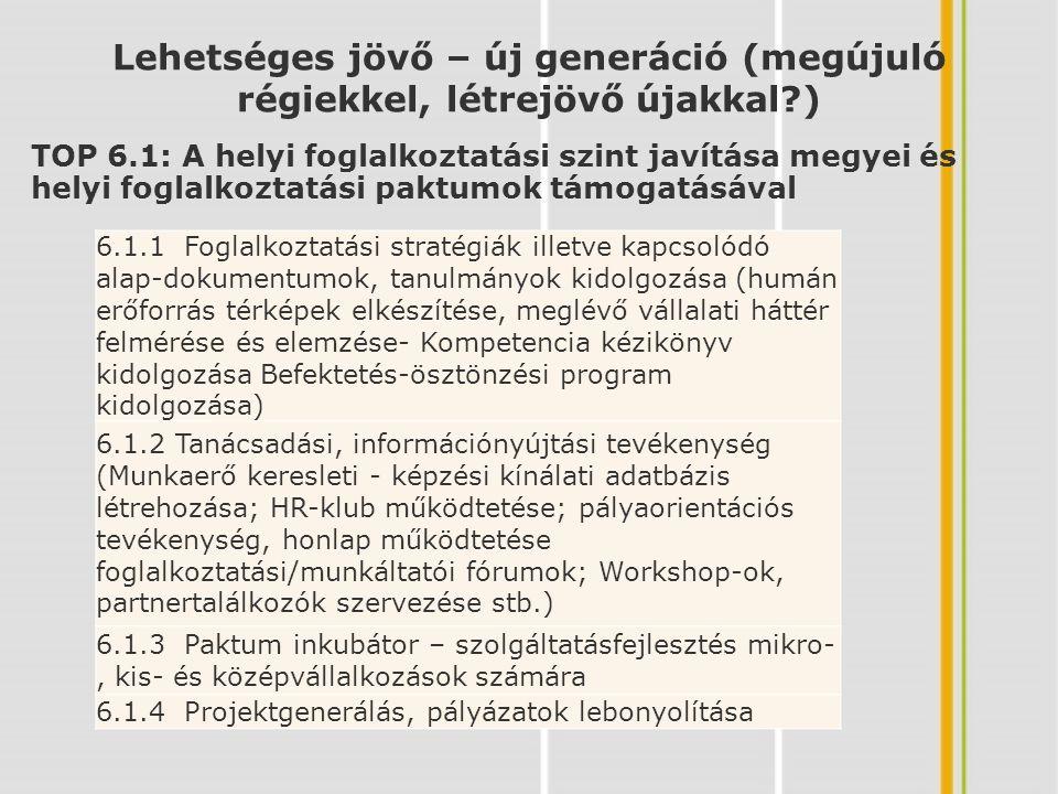 TOP 6.1: A helyi foglalkoztatási szint javítása megyei és helyi foglalkoztatási paktumok támogatásával Lehetséges jövő – új generáció (megújuló régiekkel, létrejövő újakkal ) 6.1.1 Foglalkoztatási stratégiák illetve kapcsolódó alap-dokumentumok, tanulmányok kidolgozása (humán erőforrás térképek elkészítése, meglévő vállalati háttér felmérése és elemzése- Kompetencia kézikönyv kidolgozása Befektetés-ösztönzési program kidolgozása) 6.1.2 Tanácsadási, információnyújtási tevékenység (Munkaerő keresleti - képzési kínálati adatbázis létrehozása; HR-klub működtetése; pályaorientációs tevékenység, honlap működtetése foglalkoztatási/munkáltatói fórumok; Workshop-ok, partnertalálkozók szervezése stb.) 6.1.3 Paktum inkubátor – szolgáltatásfejlesztés mikro-, kis- és középvállalkozások számára 6.1.4 Projektgenerálás, pályázatok lebonyolítása