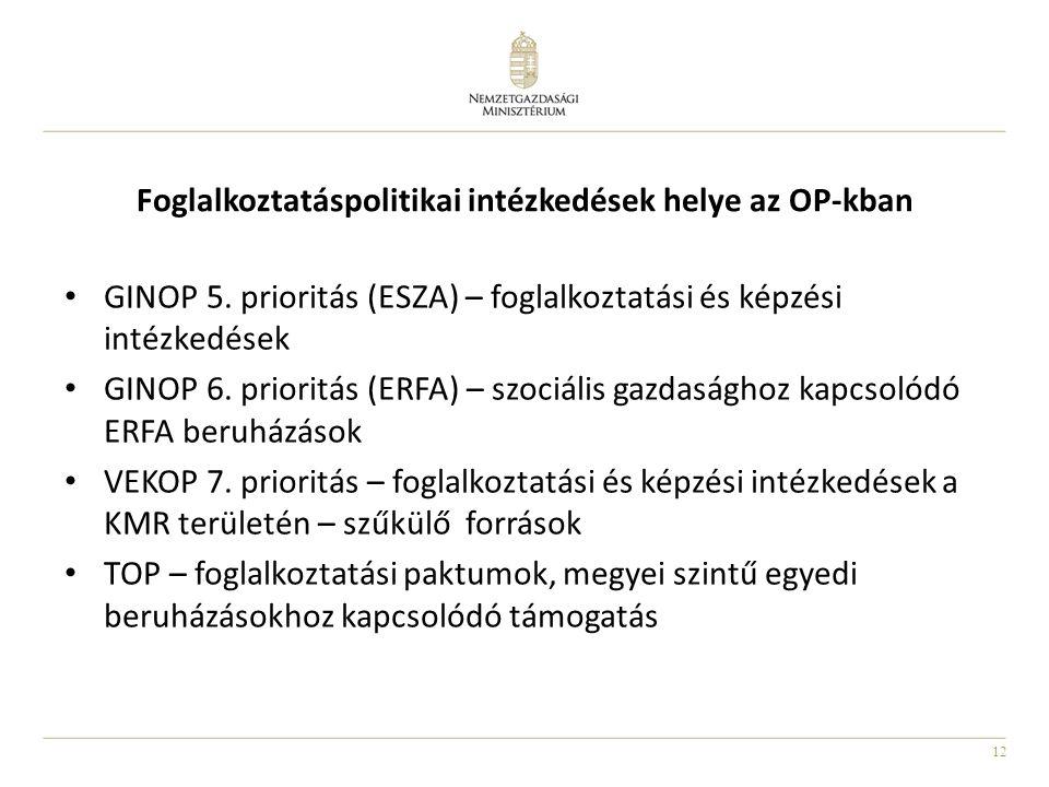 12 Foglalkoztatáspolitikai intézkedések helye az OP-kban GINOP 5. prioritás (ESZA) – foglalkoztatási és képzési intézkedések GINOP 6. prioritás (ERFA)