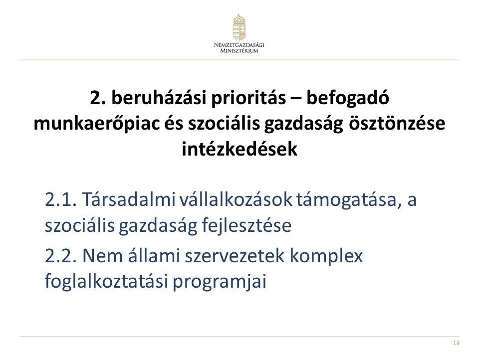 19 2. beruházási prioritás – befogadó munkaerőpiac és szociális gazdaság ösztönzése intézkedések 2.1. Társadalmi vállalkozások támogatása, a szociális