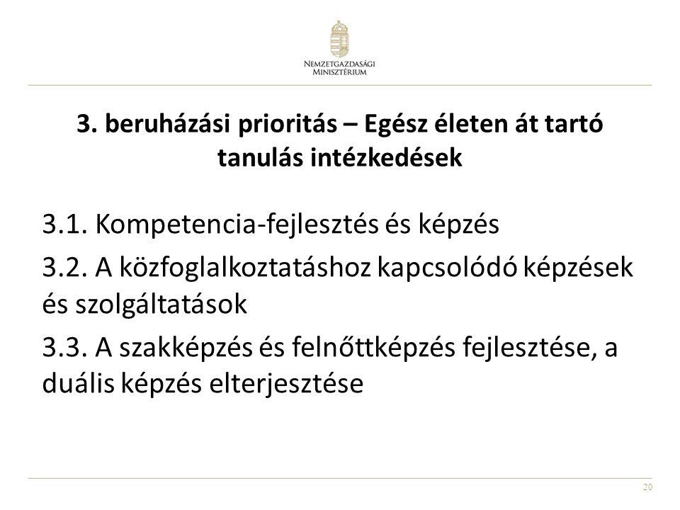 20 3. beruházási prioritás – Egész életen át tartó tanulás intézkedések 3.1. Kompetencia-fejlesztés és képzés 3.2. A közfoglalkoztatáshoz kapcsolódó k