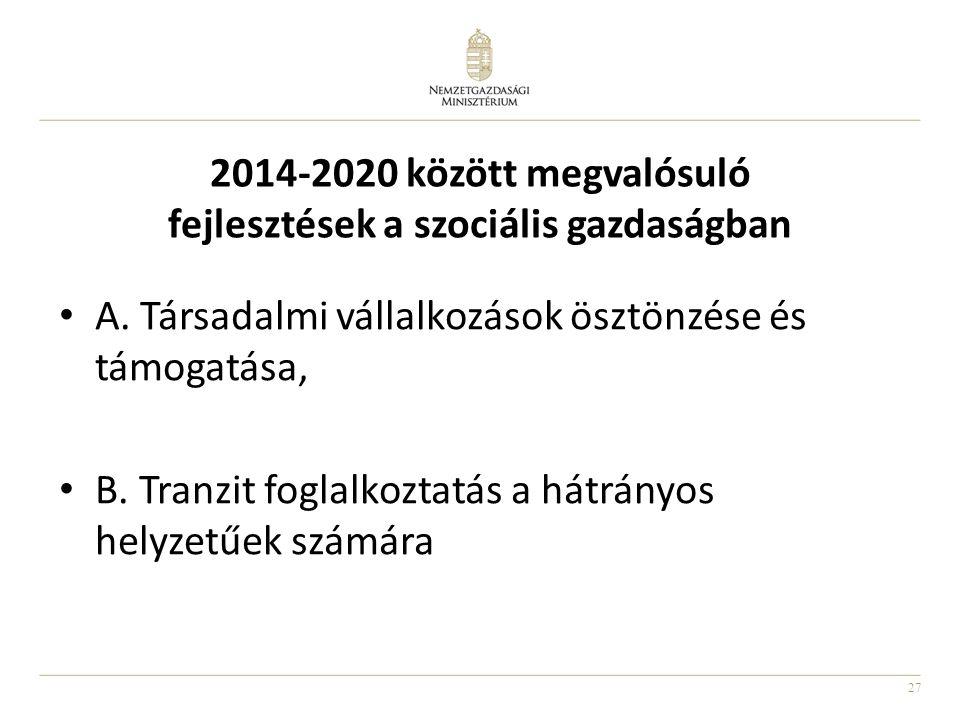27 2014-2020 között megvalósuló fejlesztések a szociális gazdaságban A. Társadalmi vállalkozások ösztönzése és támogatása, B. Tranzit foglalkoztatás a