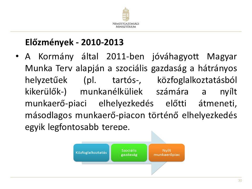 30 Előzmények - 2010-2013 A Kormány által 2011-ben jóváhagyott Magyar Munka Terv alapján a szociális gazdaság a hátrányos helyzetűek (pl. tartós-, köz