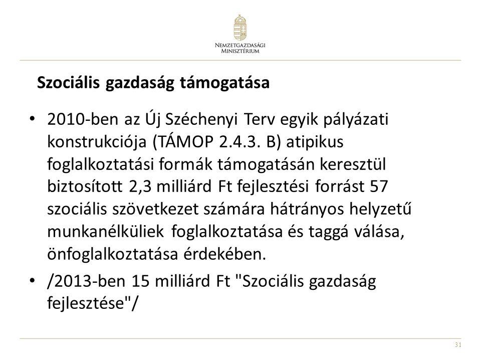 31 Szociális gazdaság támogatása 2010-ben az Új Széchenyi Terv egyik pályázati konstrukciója (TÁMOP 2.4.3. B) atipikus foglalkoztatási formák támogatá