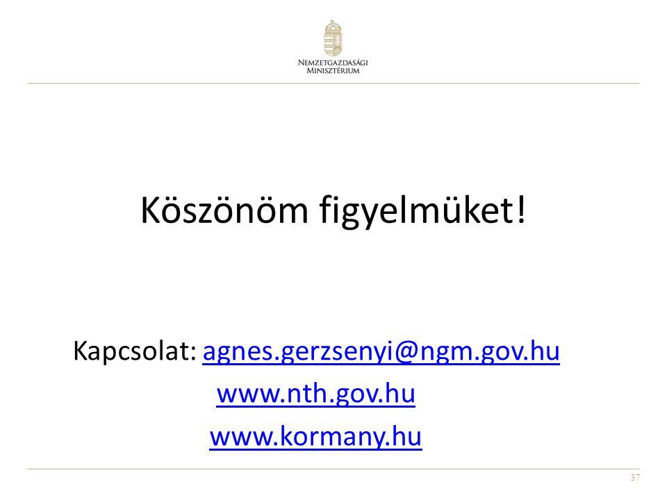 37 Köszönöm figyelmüket! Kapcsolat: agnes.gerzsenyi@ngm.gov.huagnes.gerzsenyi@ngm.gov.hu www.nth.gov.hu www.kormany.hu