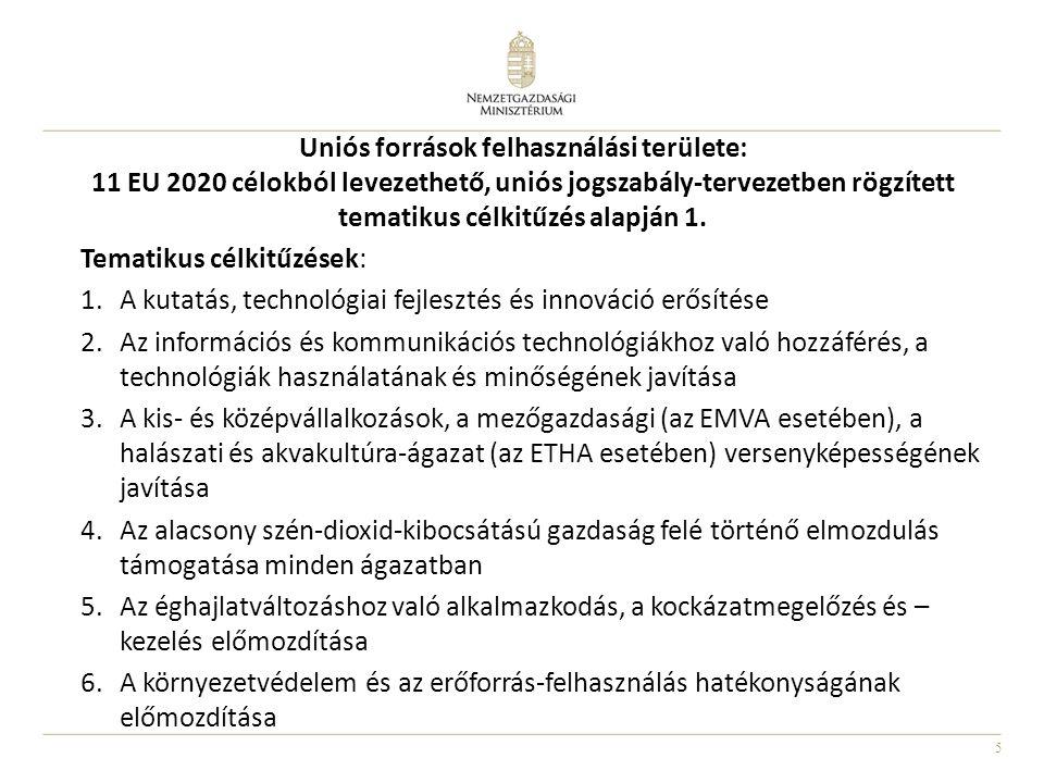 5 Uniós források felhasználási területe: 11 EU 2020 célokból levezethető, uniós jogszabály-tervezetben rögzített tematikus célkitűzés alapján 1. Temat