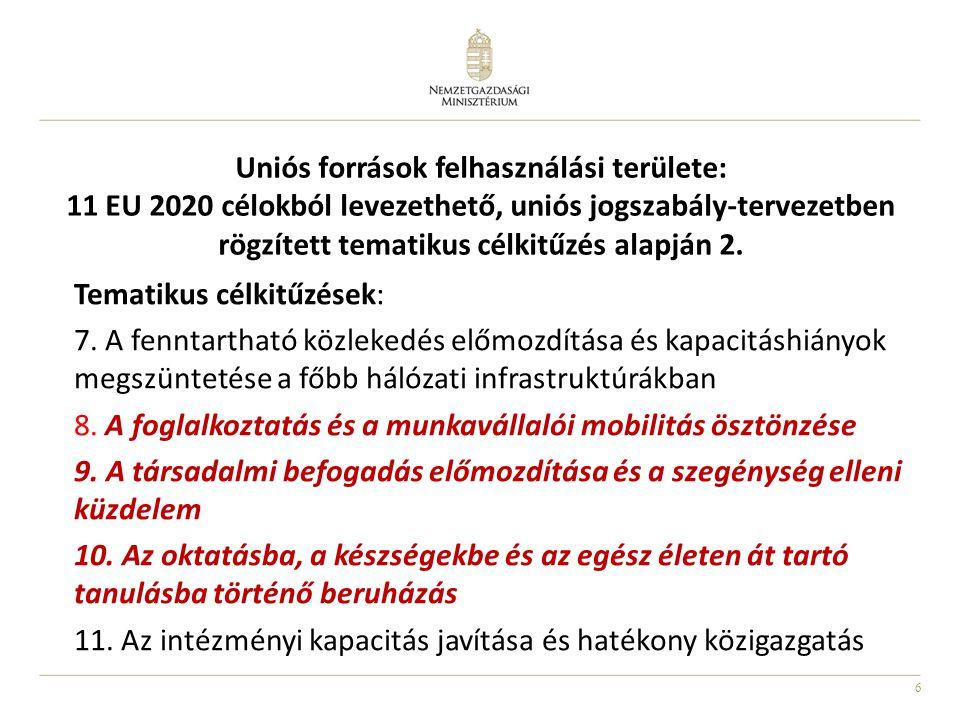 6 Uniós források felhasználási területe: 11 EU 2020 célokból levezethető, uniós jogszabály-tervezetben rögzített tematikus célkitűzés alapján 2. Temat