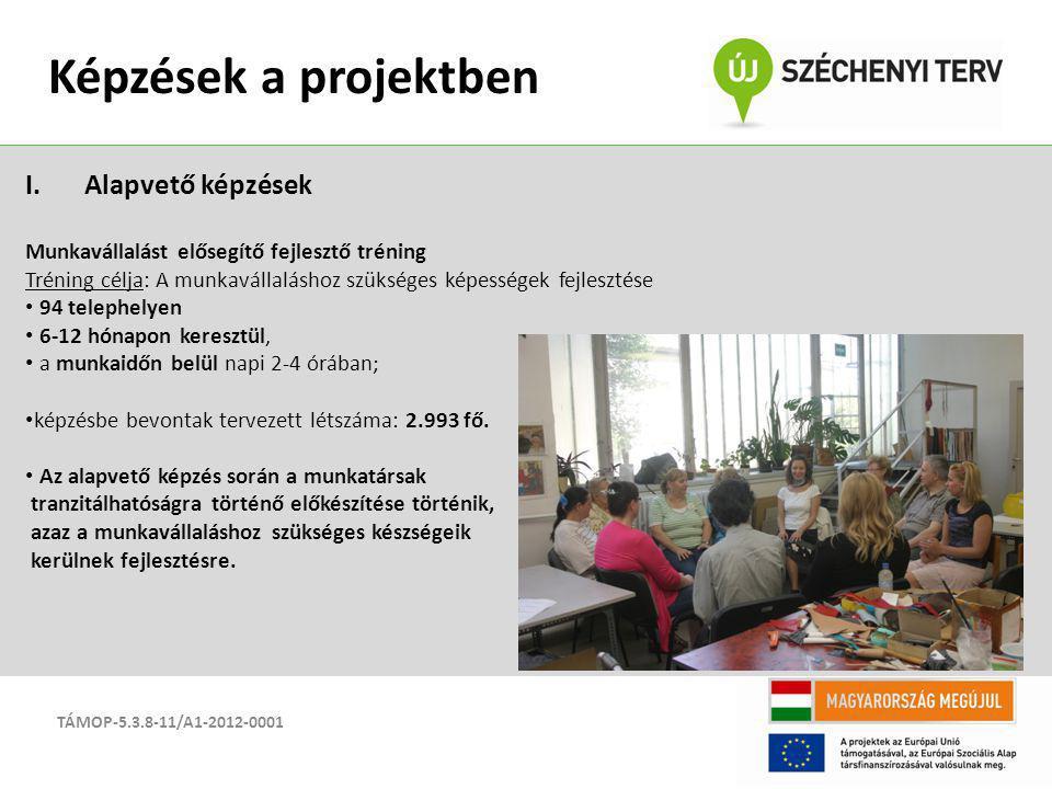 TÁMOP-5.3.8-11/A1-2012-0001 Képzések a projektben I.Alapvető képzések Munkavállalást elősegítő fejlesztő tréning Tréning célja: A munkavállaláshoz szü