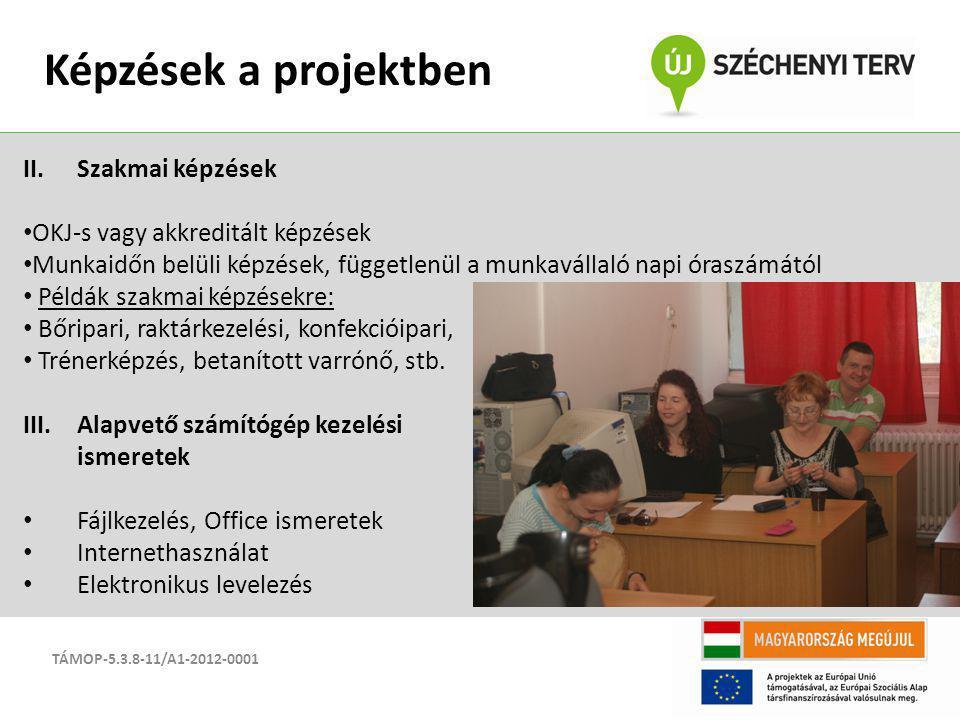 TÁMOP-5.3.8-11/A1-2012-0001 Képzések a projektben II.Szakmai képzések OKJ-s vagy akkreditált képzések Munkaidőn belüli képzések, függetlenül a munkavá
