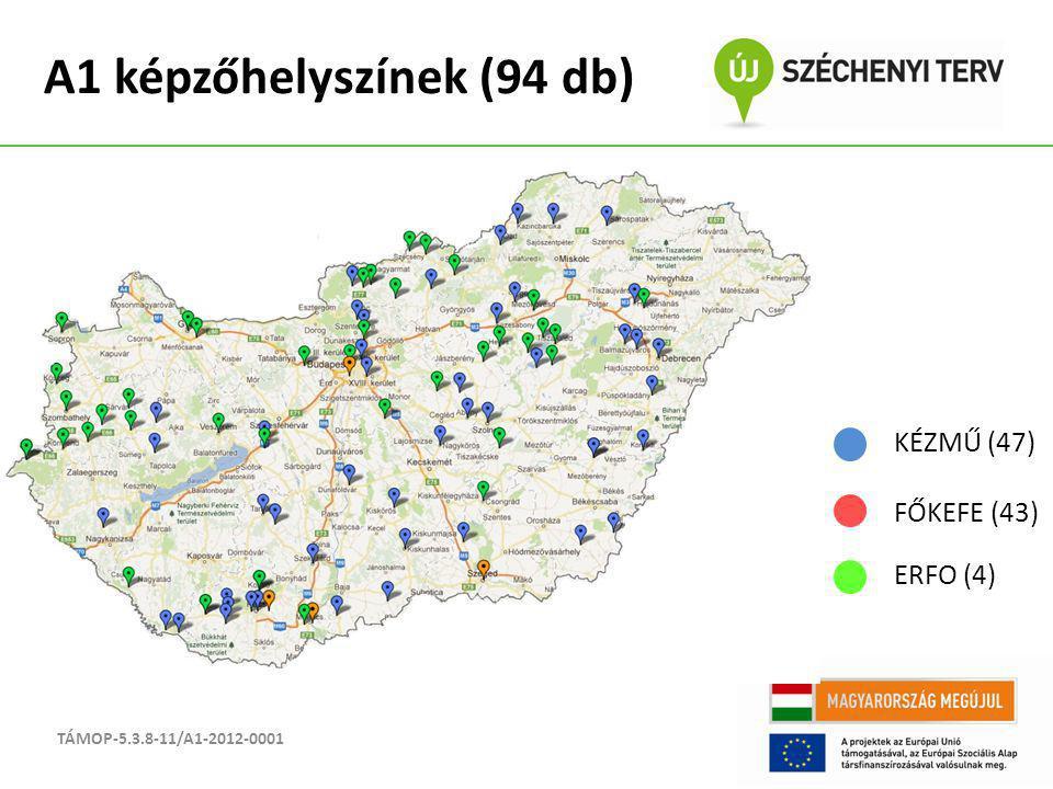 A1 képzőhelyszínek (94 db) TÁMOP-5.3.8-11/A1-2012-0001 KÉZMŰ (47) FŐKEFE (43) ERFO (4)
