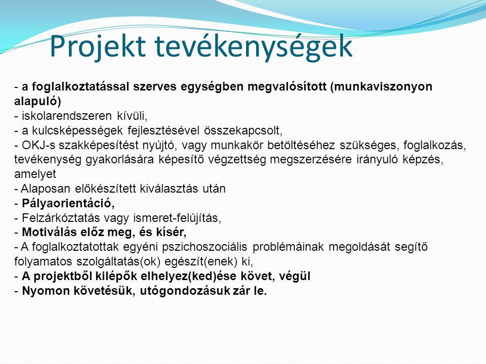Projekt tevékenységek - a foglalkoztatással szerves egységben megvalósított (munkaviszonyon alapuló) - iskolarendszeren kívüli, - a kulcsképességek fe