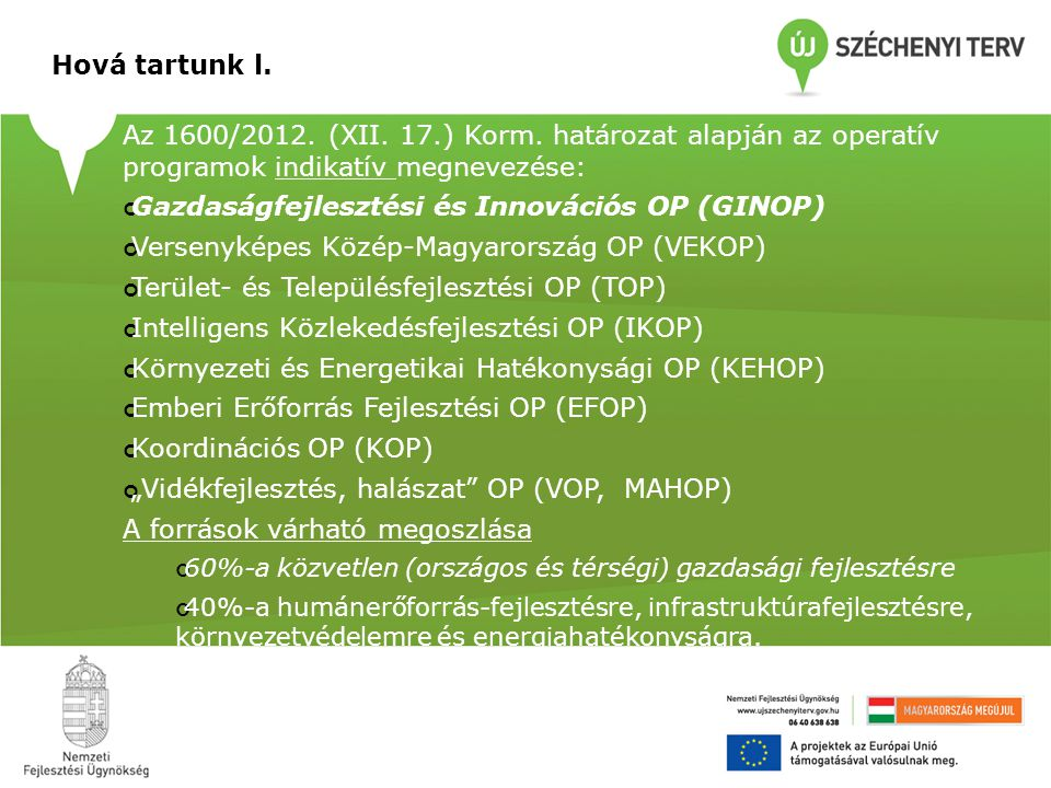Hová tartunk l. Az 1600/2012. (XII. 17.) Korm.