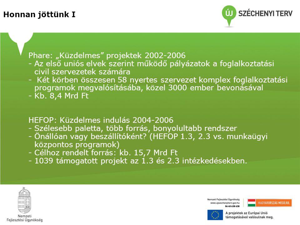 """Honnan jöttünk I Phare: """"Küzdelmes projektek 2002-2006 -Az első uniós elvek szerint működő pályázatok a foglalkoztatási civil szervezetek számára - Két körben összesen 58 nyertes szervezet komplex foglalkoztatási programok megvalósításába, közel 3000 ember bevonásával -Kb."""