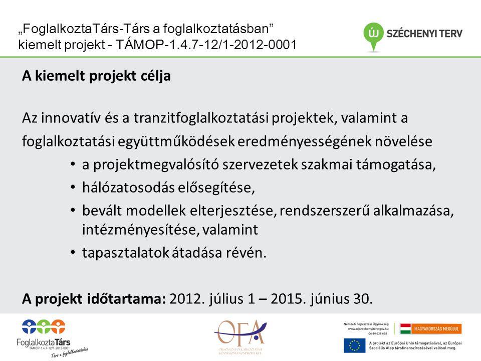 """""""FoglalkoztaTárs-Társ a foglalkoztatásban kiemelt projekt - TÁMOP-1.4.7-12/1-2012-0001 A kiemelt projekt célja Az innovatív és a tranzitfoglalkoztatási projektek, valamint a foglalkoztatási együttműködések eredményességének növelése a projektmegvalósító szervezetek szakmai támogatása, hálózatosodás elősegítése, bevált modellek elterjesztése, rendszerszerű alkalmazása, intézményesítése, valamint tapasztalatok átadása révén."""