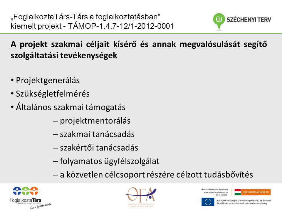 """""""FoglalkoztaTárs-Társ a foglalkoztatásban kiemelt projekt - TÁMOP-1.4.7-12/1-2012-0001 A projekt szakmai céljait kísérő és annak megvalósulását segítő szolgáltatási tevékenységek Hálózatépítés, hálózati együttműködés generálása, tapasztalatátadás Szakmai rendezvények szervezése: – Nyitó - Open Space – konferencia – Tematikus konferencia – Regionális szakmai műhelyek Tudástár A szolgáltatási- és fejlesztő tevékenység folyamatba épített értékeléssel támogatva valósul meg, annak érdekében, hogy a kiemelt projekt eredményeinek közvetlen visszacsatolása megtörténhessen Disszemináció"""