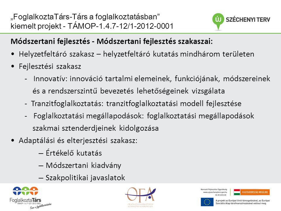 """""""FoglalkoztaTárs-Társ a foglalkoztatásban kiemelt projekt - TÁMOP-1.4.7-12/1-2012-0001 Tranzitfoglalkoztatás az építőiparban Célja: - hátrányos helyzetű emberek munkaerő-piaci elhelyezkedésének elősegítése tranzitfoglalkoztatási programok segítségével szakma megszerzésére irányuló, ill."""