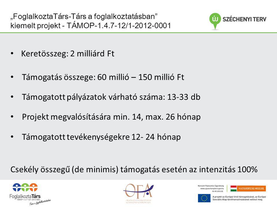 """""""FoglalkoztaTárs-Társ a foglalkoztatásban kiemelt projekt - TÁMOP-1.4.7-12/1-2012-0001 Keretösszeg: 2 milliárd Ft Támogatás összege: 60 millió – 150 millió Ft Támogatott pályázatok várható száma: 13-33 db Projekt megvalósítására min."""