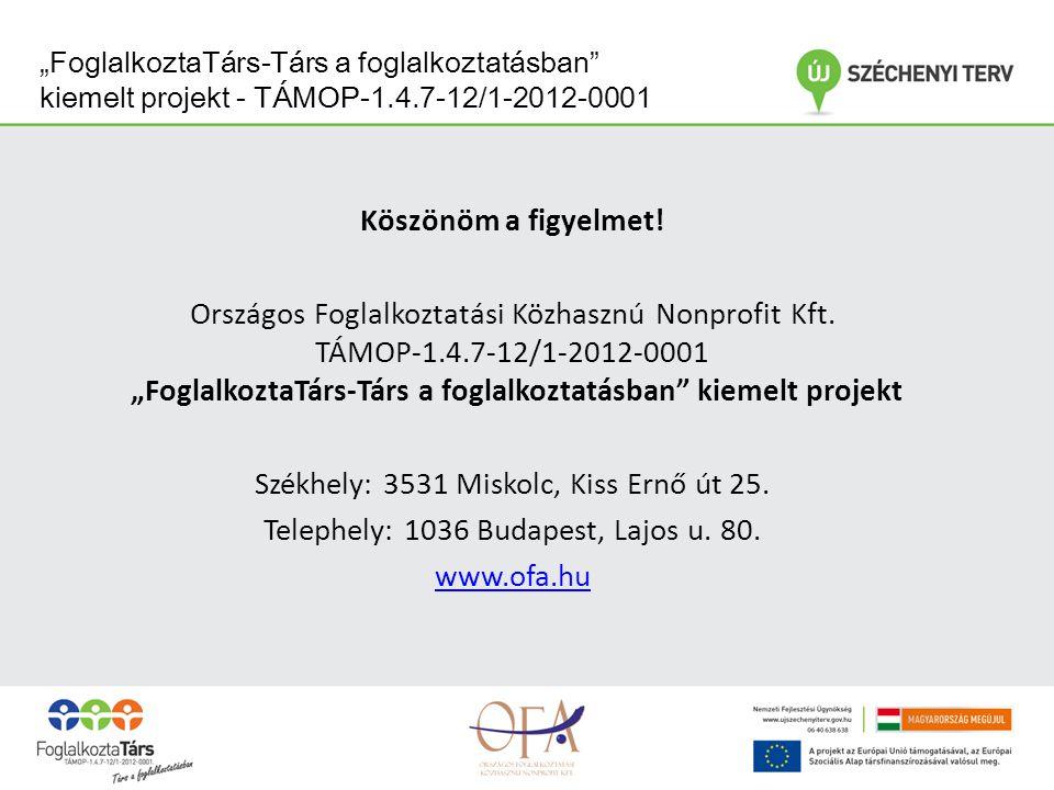 """""""FoglalkoztaTárs-Társ a foglalkoztatásban kiemelt projekt - TÁMOP-1.4.7-12/1-2012-0001 Köszönöm a figyelmet."""