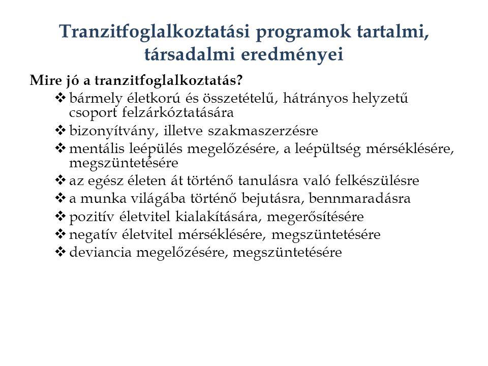 Tranzitfoglalkoztatási programok tartalmi, társadalmi eredményei Mire jó a tranzitfoglalkoztatás.