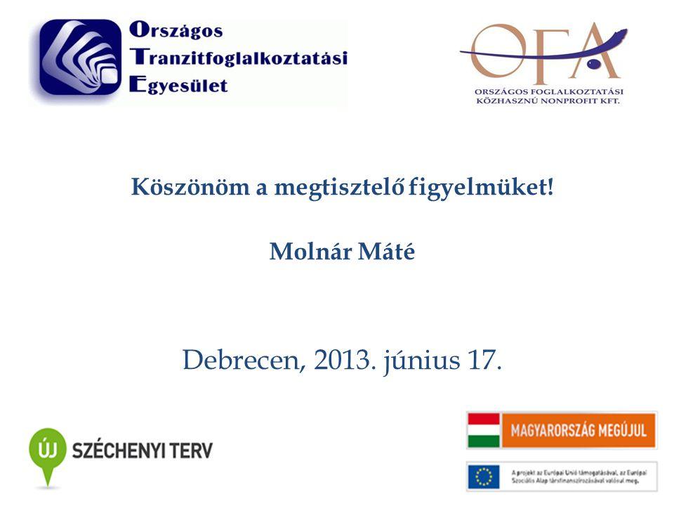 Köszönöm a megtisztelő figyelmüket! Molnár Máté Debrecen, 2013. június 17.