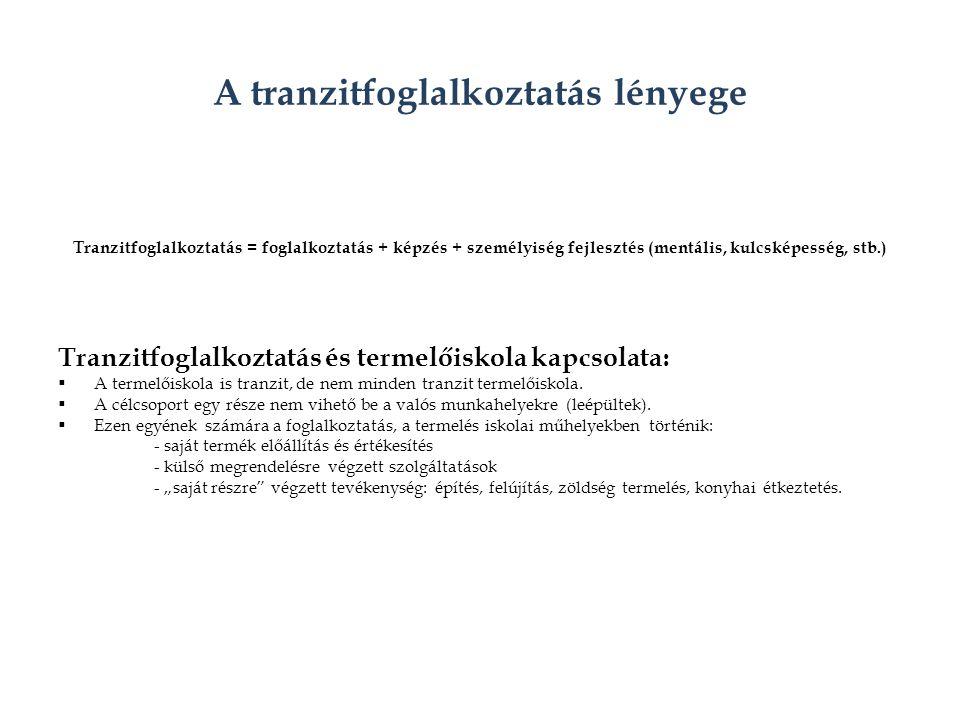 A tranzitfoglalkoztatás lényege Tranzitfoglalkoztatás = foglalkoztatás + képzés + személyiség fejlesztés (mentális, kulcsképesség, stb.) Tranzitfoglalkoztatás és termelőiskola kapcsolata:  A termelőiskola is tranzit, de nem minden tranzit termelőiskola.