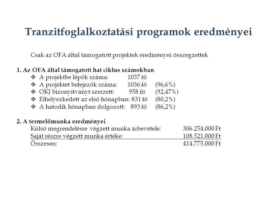Tranzitfoglalkoztatási programok eredményei Csak az OFA által támogatott projektek eredményei összegzettek 1.
