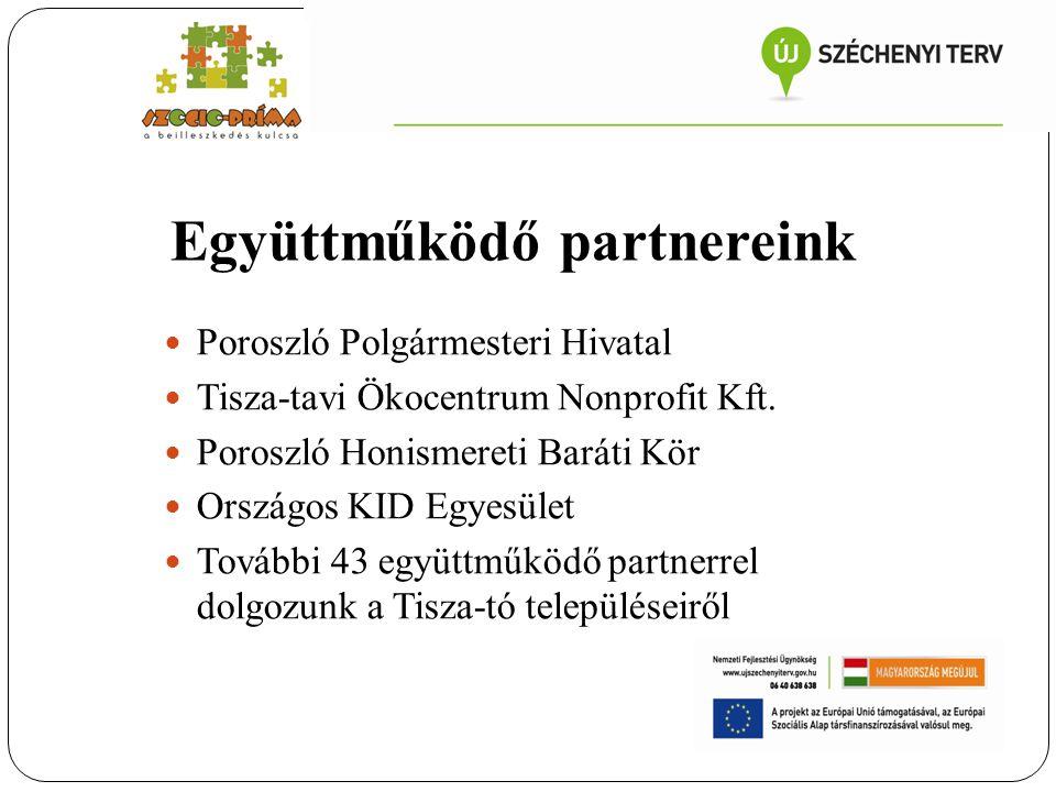 Együttműködő partnereink Poroszló Polgármesteri Hivatal Tisza-tavi Ökocentrum Nonprofit Kft. Poroszló Honismereti Baráti Kör Országos KID Egyesület To