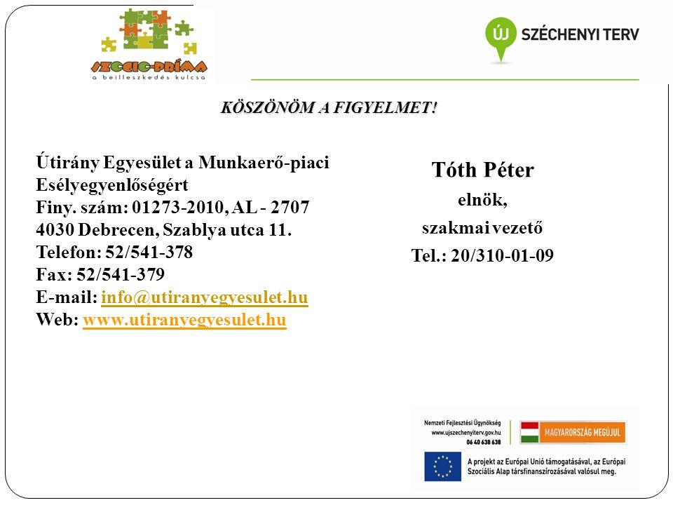 Tóth Péter elnök, szakmai vezető Tel.: 20/310-01-09 Útirány Egyesület a Munkaerő-piaci Esélyegyenlőségért Finy. szám: 01273-2010, AL - 2707 4030 Debre