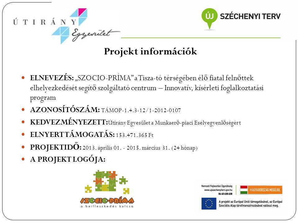 """Projekt információk ELNEVEZÉS: """"SZOCIO-PRÍMA"""" a Tisza-tó térségében él ő fiatal feln ő ttek elhelyezkedését segít ő szolgáltató centrum – Innovatív, k"""