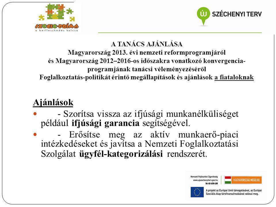 Ajánlások - Szorítsa vissza az ifjúsági munkanélküliséget például ifjúsági garancia segítségével. - Erősítse meg az aktív munkaerő-piaci intézkedéseke