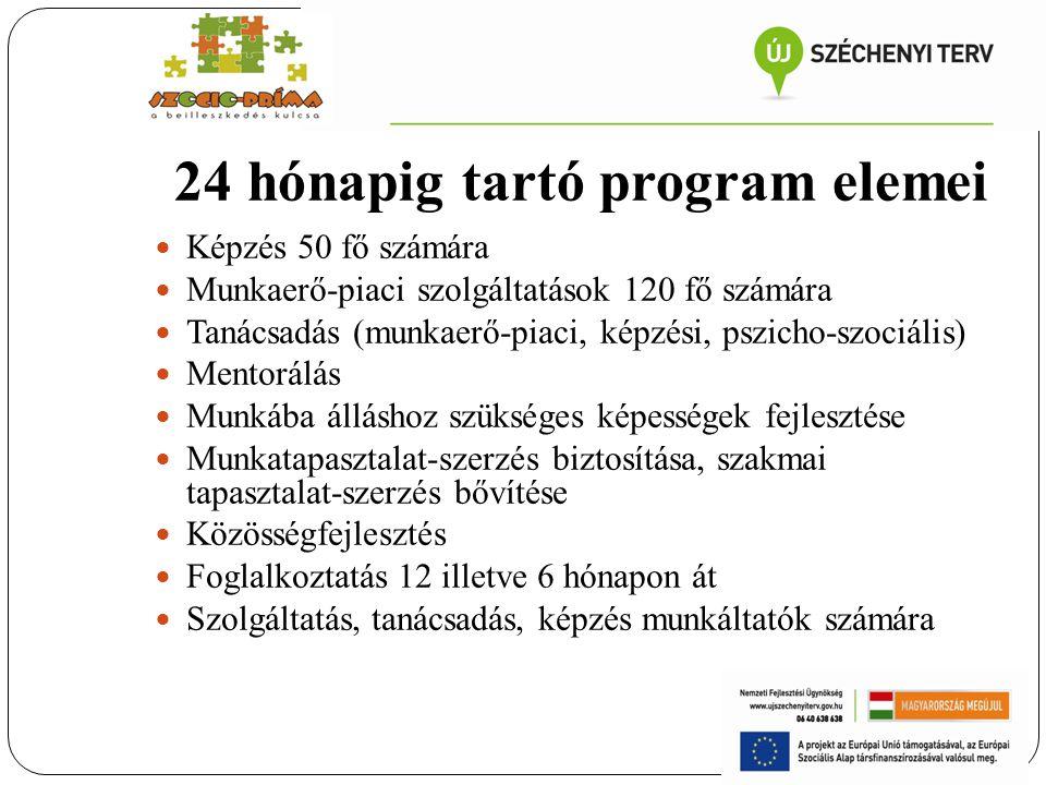 24 hónapig tartó program elemei Képzés 50 fő számára Munkaerő-piaci szolgáltatások 120 fő számára Tanácsadás (munkaerő-piaci, képzési, pszicho-szociál