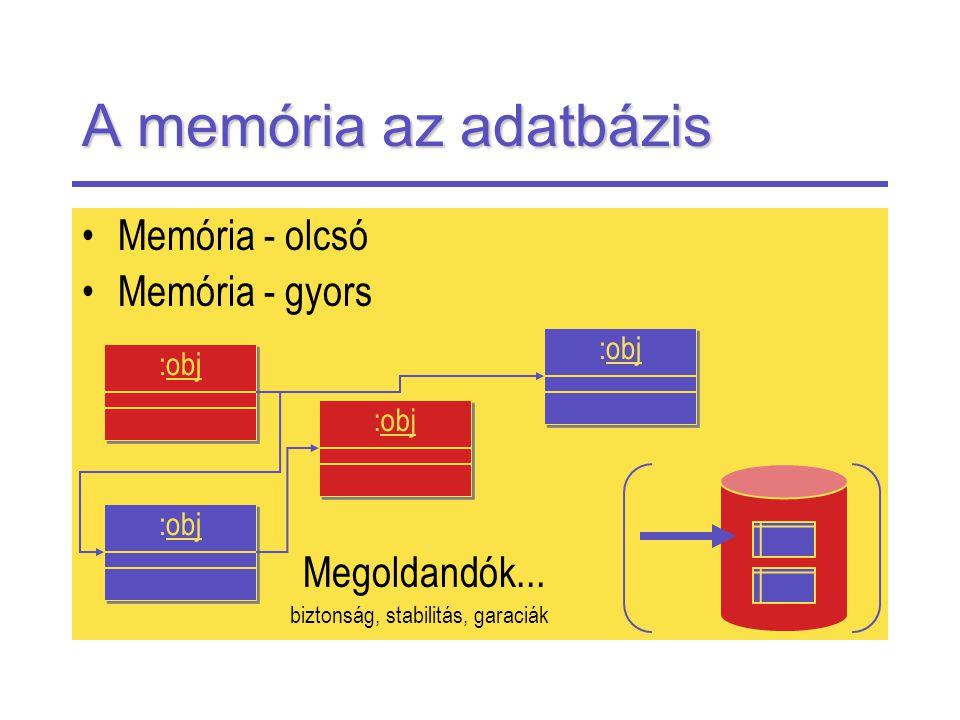 A memória az adatbázis Memória - olcsó Memória - gyors Megoldandók...
