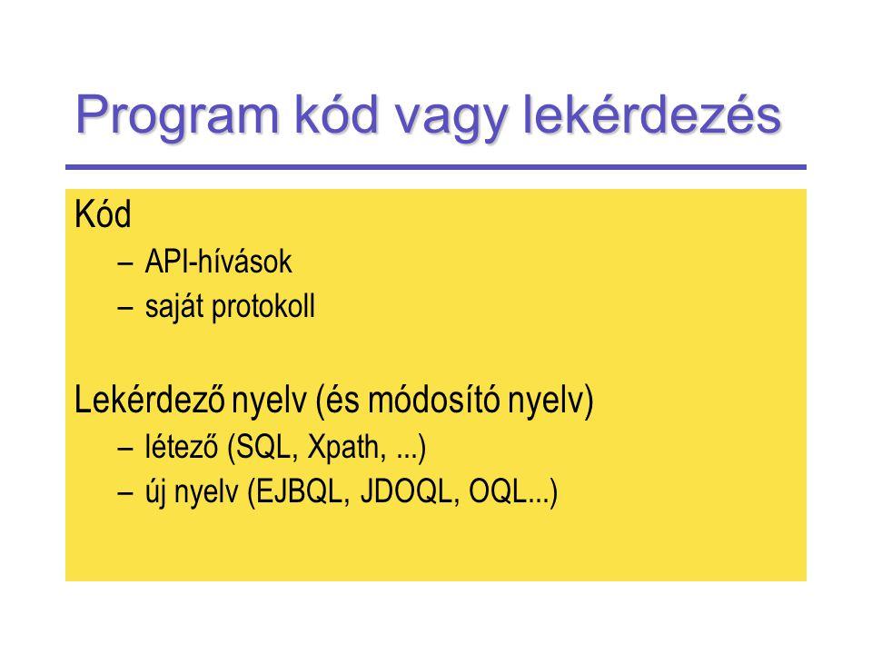 Program kód vagy lekérdezés Kód –API-hívások –saját protokoll Lekérdező nyelv (és módosító nyelv) –létező (SQL, Xpath,...) –új nyelv (EJBQL, JDOQL, OQL...)