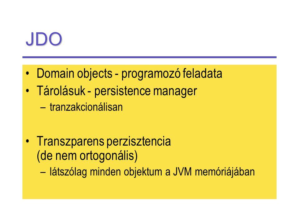 JDO Domain objects - programozó feladata Tárolásuk - persistence manager –tranzakcionálisan Transzparens perzisztencia (de nem ortogonális) –látszólag minden objektum a JVM memóriájában