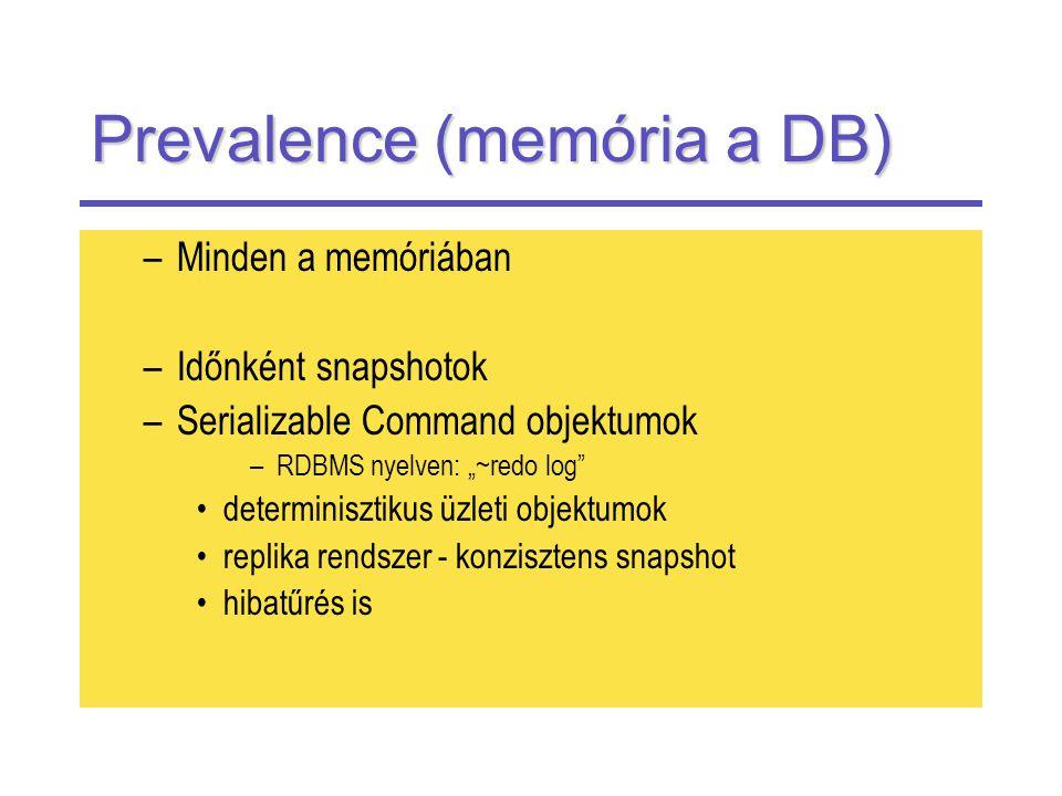 """Prevalence (memória a DB) –Minden a memóriában –Időnként snapshotok –Serializable Command objektumok –RDBMS nyelven: """"~redo log determinisztikus üzleti objektumok replika rendszer - konzisztens snapshot hibatűrés is"""