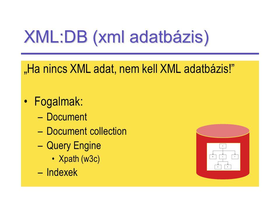 """XML:DB (xml adatbázis) """"Ha nincs XML adat, nem kell XML adatbázis! Fogalmak: –Document –Document collection –Query Engine Xpath (w3c) –Indexek"""