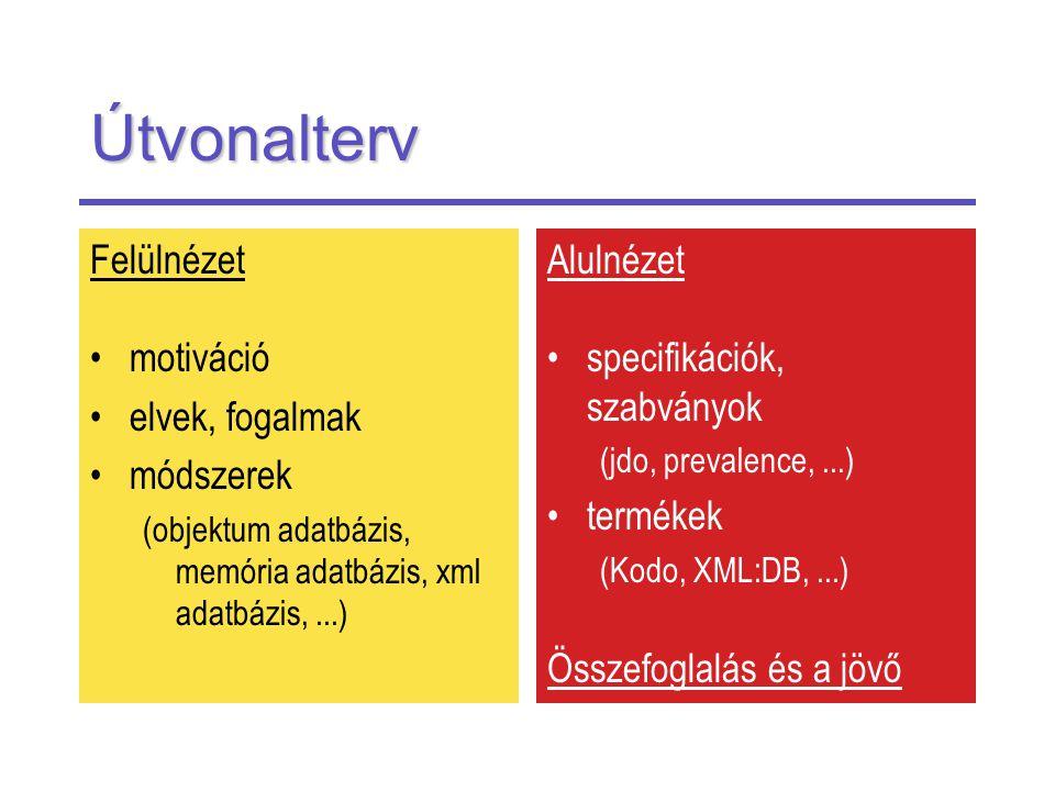 Útvonalterv Felülnézet motiváció elvek, fogalmak módszerek (objektum adatbázis, memória adatbázis, xml adatbázis,...) Alulnézet specifikációk, szabványok (jdo, prevalence,...) termékek (Kodo, XML:DB,...) Összefoglalás és a jövő
