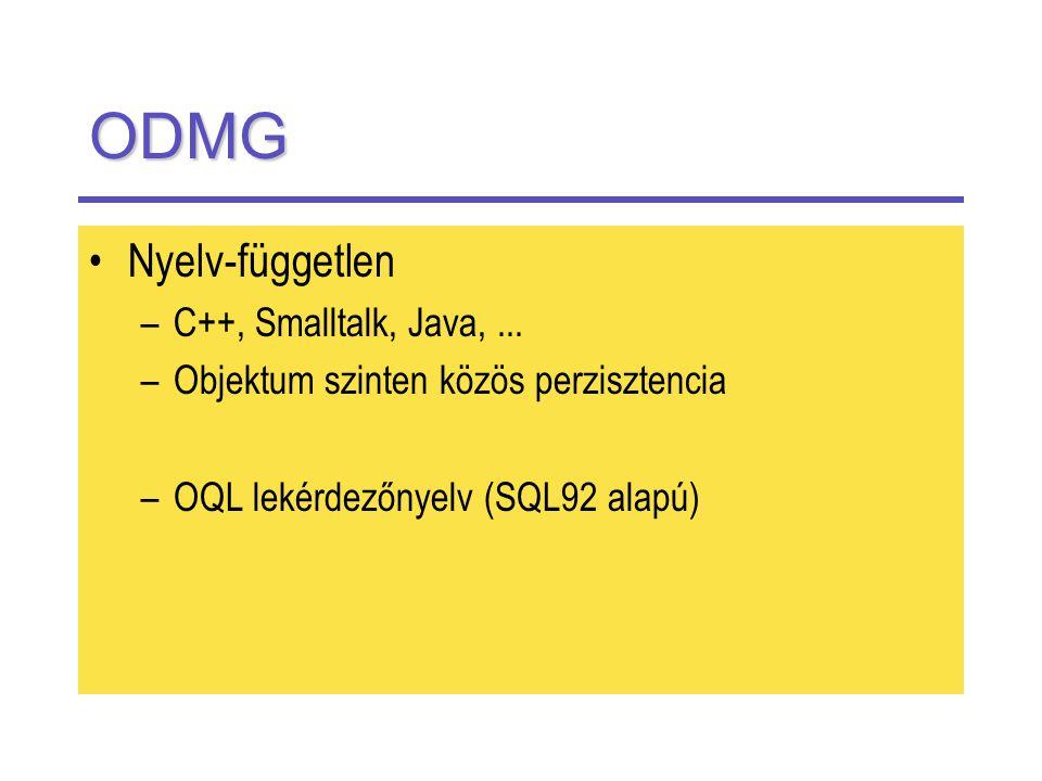 ODMG Nyelv-független –C++, Smalltalk, Java,...