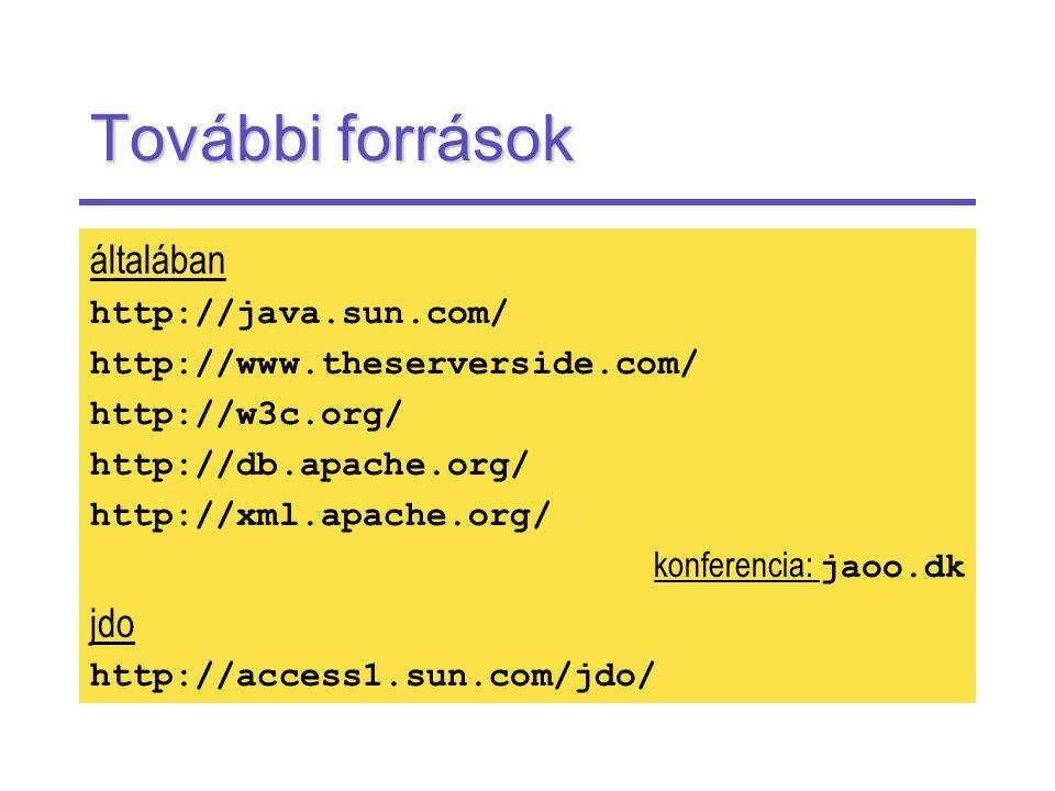 További források általában http://java.sun.com/ http://www.theserverside.com/ http://w3c.org/ http://db.apache.org/ http://xml.apache.org/ konferencia: jaoo.dk jdo http://access1.sun.com/jdo/