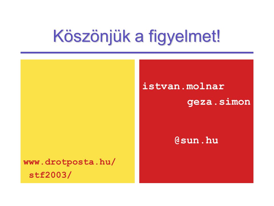 Köszönjük a figyelmet! www.drotposta.hu/ stf2003/ istvan.molnar geza.simon @sun.hu
