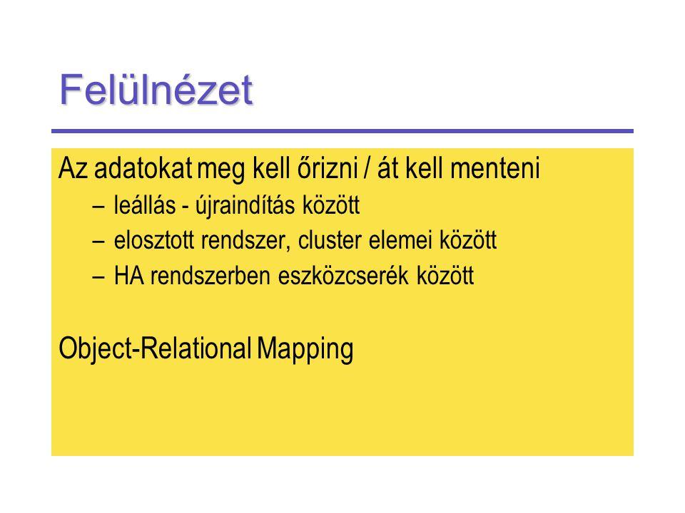 Felülnézet Az adatokat meg kell őrizni / át kell menteni –leállás - újraindítás között –elosztott rendszer, cluster elemei között –HA rendszerben eszközcserék között Object-Relational Mapping