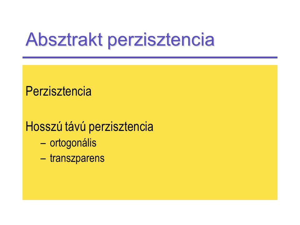 Absztrakt perzisztencia Perzisztencia Hosszú távú perzisztencia –ortogonális –transzparens